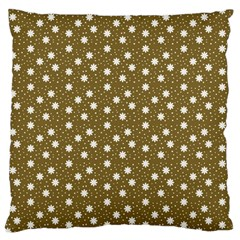 Floral Dots Brown Large Flano Cushion Case (one Side)