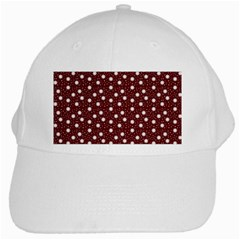 Floral Dots Maroon White Cap