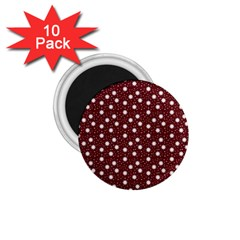 Floral Dots Maroon 1 75  Magnets (10 Pack)