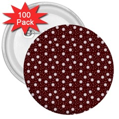 Floral Dots Maroon 3  Buttons (100 Pack)