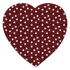 Floral Dots Maroon Jigsaw Puzzle (heart)