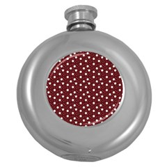 Floral Dots Maroon Round Hip Flask (5 Oz)