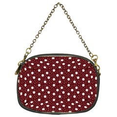 Floral Dots Maroon Chain Purses (two Sides)