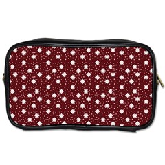 Floral Dots Maroon Toiletries Bags 2 Side