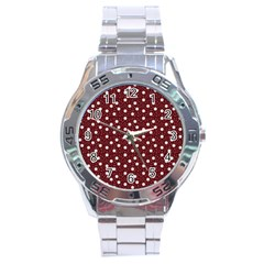 Floral Dots Maroon Stainless Steel Analogue Watch