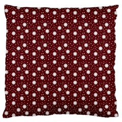 Floral Dots Maroon Large Cushion Case (two Sides)