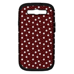 Floral Dots Maroon Samsung Galaxy S Iii Hardshell Case (pc+silicone)