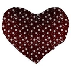 Floral Dots Maroon Large 19  Premium Heart Shape Cushions