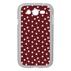 Floral Dots Maroon Samsung Galaxy Grand Duos I9082 Case (white)