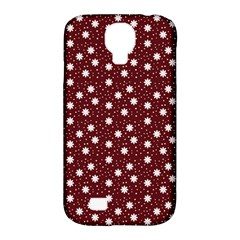 Floral Dots Maroon Samsung Galaxy S4 Classic Hardshell Case (pc+silicone)