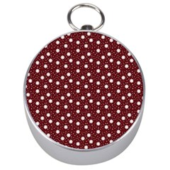 Floral Dots Maroon Silver Compasses