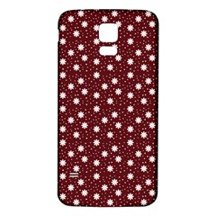 Floral Dots Maroon Samsung Galaxy S5 Back Case (white)