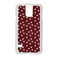 Floral Dots Maroon Samsung Galaxy S5 Case (white)