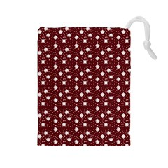 Floral Dots Maroon Drawstring Pouches (large)