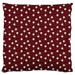 Floral Dots Maroon Standard Flano Cushion Case (two Sides)