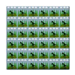 Dino In The Mountains Blue Tile Coasters