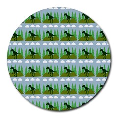 Dino In The Mountains Blue Round Mousepads