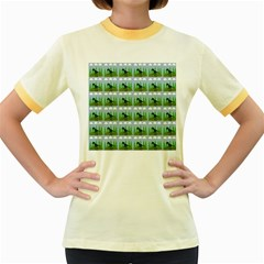 Dino In The Mountains Blue Women s Fitted Ringer T Shirts