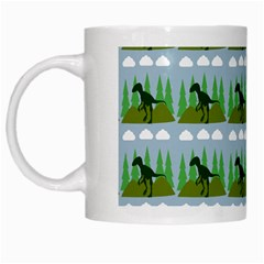 Dino In The Mountains Blue White Mugs