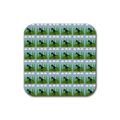 Dino In The Mountains Blue Rubber Coaster (square)