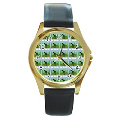Dino In The Mountains Blue Round Gold Metal Watch