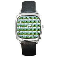 Dino In The Mountains Blue Square Metal Watch