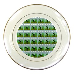Dino In The Mountains Blue Porcelain Plates