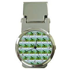 Dino In The Mountains Blue Money Clip Watches