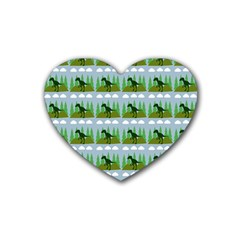 Dino In The Mountains Blue Rubber Coaster (heart)