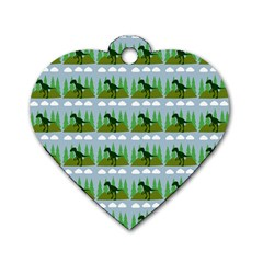 Dino In The Mountains Blue Dog Tag Heart (two Sides)