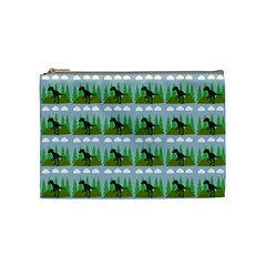Dino In The Mountains Blue Cosmetic Bag (medium)