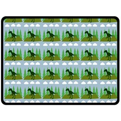 Dino In The Mountains Blue Fleece Blanket (large)