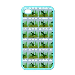 Dino In The Mountains Blue Apple Iphone 4 Case (color)