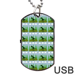 Dino In The Mountains Blue Dog Tag Usb Flash (two Sides)