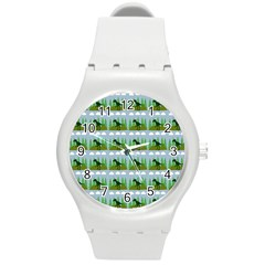 Dino In The Mountains Blue Round Plastic Sport Watch (m)
