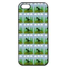 Dino In The Mountains Blue Apple Iphone 5 Seamless Case (black)
