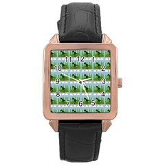 Dino In The Mountains Blue Rose Gold Leather Watch