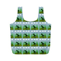 Dino In The Mountains Blue Full Print Recycle Bags (m)