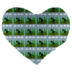 Dino In The Mountains Blue Large 19  Premium Flano Heart Shape Cushions