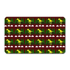 Dino In The Mountains Red Magnet (rectangular)