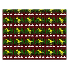Dino In The Mountains Red Rectangular Jigsaw Puzzl