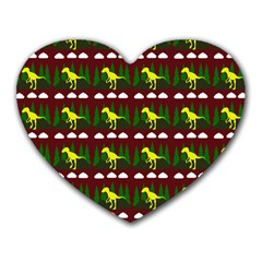 Dino In The Mountains Red Heart Mousepads