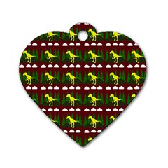 Dino In The Mountains Red Dog Tag Heart (one Side)