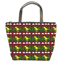 Dino In The Mountains Red Bucket Bags