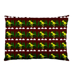 Dino In The Mountains Red Pillow Case
