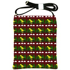 Dino In The Mountains Red Shoulder Sling Bags