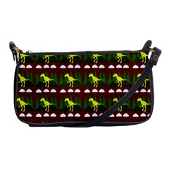 Dino In The Mountains Red Shoulder Clutch Bags