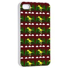 Dino In The Mountains Red Apple Iphone 4/4s Seamless Case (white)