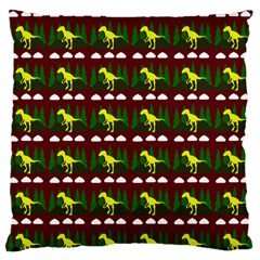 Dino In The Mountains Red Standard Flano Cushion Case (one Side)