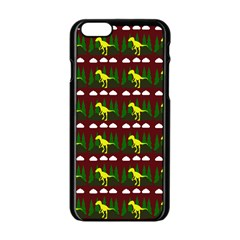 Dino In The Mountains Red Apple Iphone 6/6s Black Enamel Case
